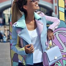 Contrast color women's jacket spring autumn multicolor stitching diagonal zipper
