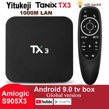 1000M Lan H 265 8K HDR 2 4G 5GHz podwójny Wifi BT 4 2 Google Youtube inteligentny odtwarzacz multimedialny Amlogic S905X3 Android 9 0 TV pudełko Tanix TX3 tanie i dobre opinie Yitukeji 1000 M CN (pochodzenie) Amlogic S905X3 Quad core cortex-A55 32 GB eMMC 64 GB eMMC Brak 4G DDR3 0 45 DC 5 V 2A