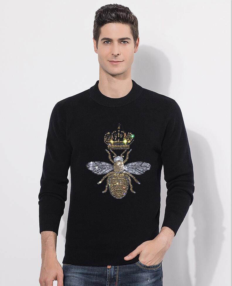 Men Sweater Top Hot Drill  O Neck Long Sleeve Pullover Knitted Sweater For Men's Clothings Winter