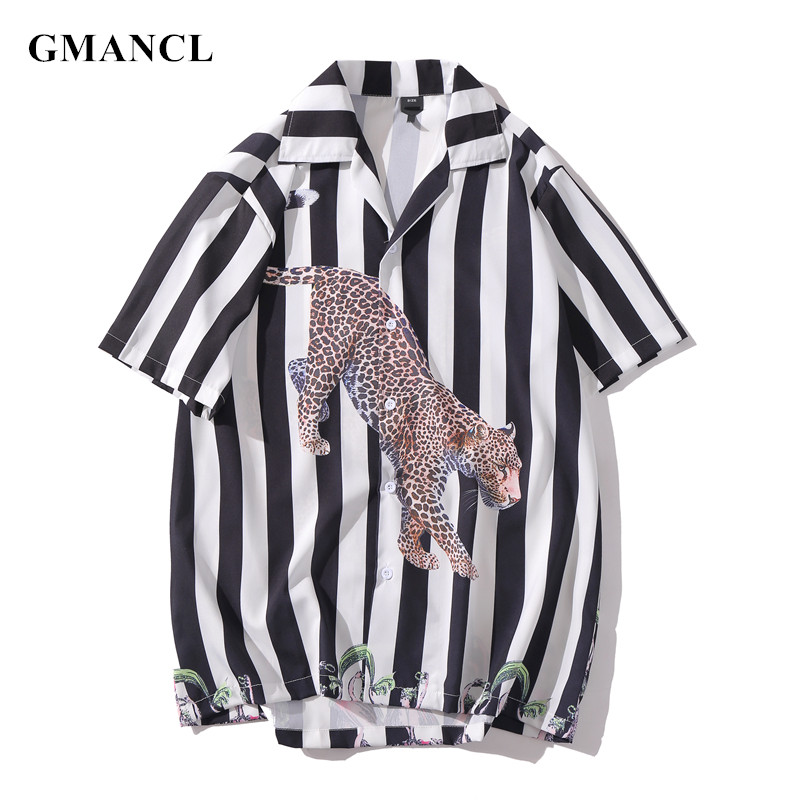 Multiple Colour Men Harajuku Vertical Striped Leopard Printed Short Sleeve Shirts Streetwear Male Casual Summer Beach Shirts