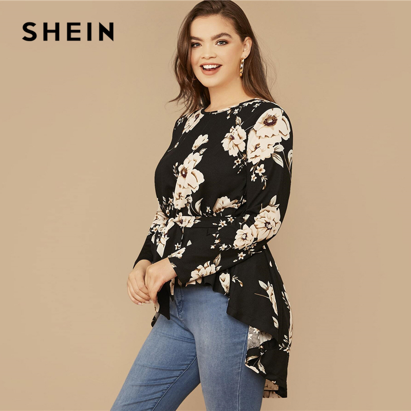 SHEIN Plus Size Black Floral Print High Low Hem Belted Top Women Spring Autumn Blouse Office Lady Casual Womens Tops and Blouses 2
