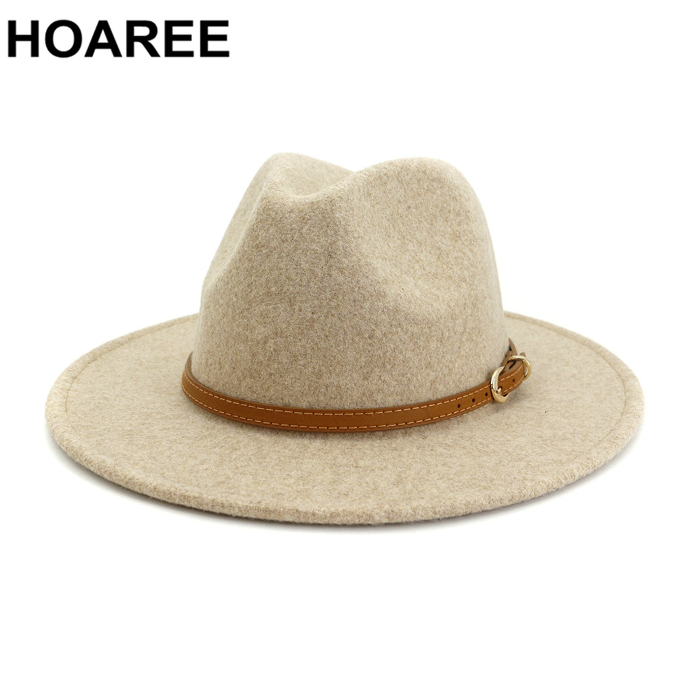 HOAREE Beige Wool Fedora Hat for Woman British Style Mens Fedora Hat with Belt Casual Unisex 2021 New Fall Winter Wide Brim Hat