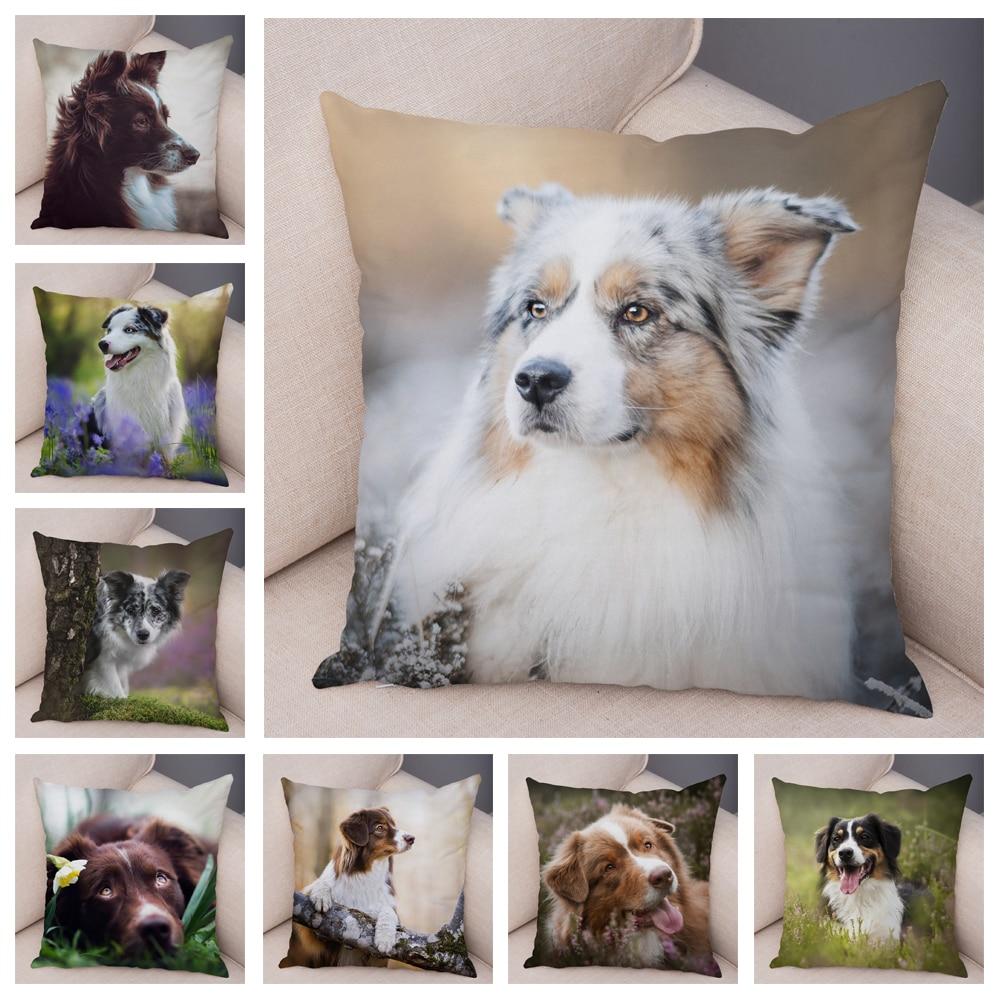 Cute Dog Australian Shepherd Pillow Case Decor Pet Animal Cushion Cover for Sofa Home Super Soft Short Plush Pillowcase 45x45cm