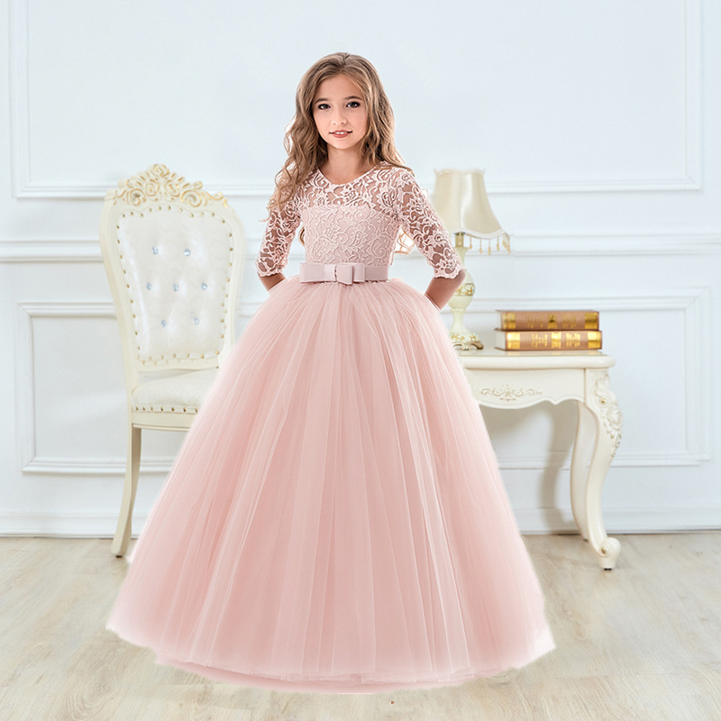 Girls Ceremony Dress for Wedding and Party Gown Exquisite Communion Luxury Princess Dress Elegant Lace Girls New Year Costume 1