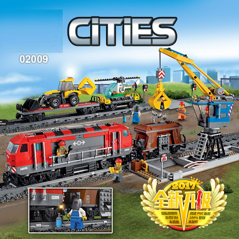 02009 82009 City Cargo Train Series Building Blocks with motor remote control Compatible King Bricks Lepinblocks