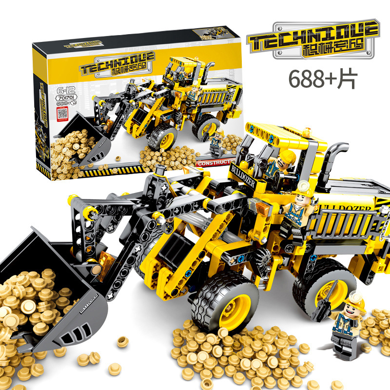 SLPF Toys For Children Engineering Bulldozer Model Kit Compatible Legoing Educational Assembled Building Blocks Kids Gifts I74