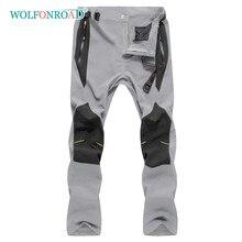 Wolfonroad com 4 bolsos com zíper leve reforçado na altura do joelho calças de caminhada à prova dwaterproof água esportes ao ar livre calças de náilon