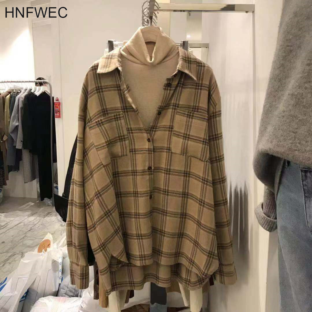 Spring And Autumn 2020 New Women's Shirts Cotton Wild Casual Ladies Blouses And Tops Fashion Plaid Lapel Women Clothing V588
