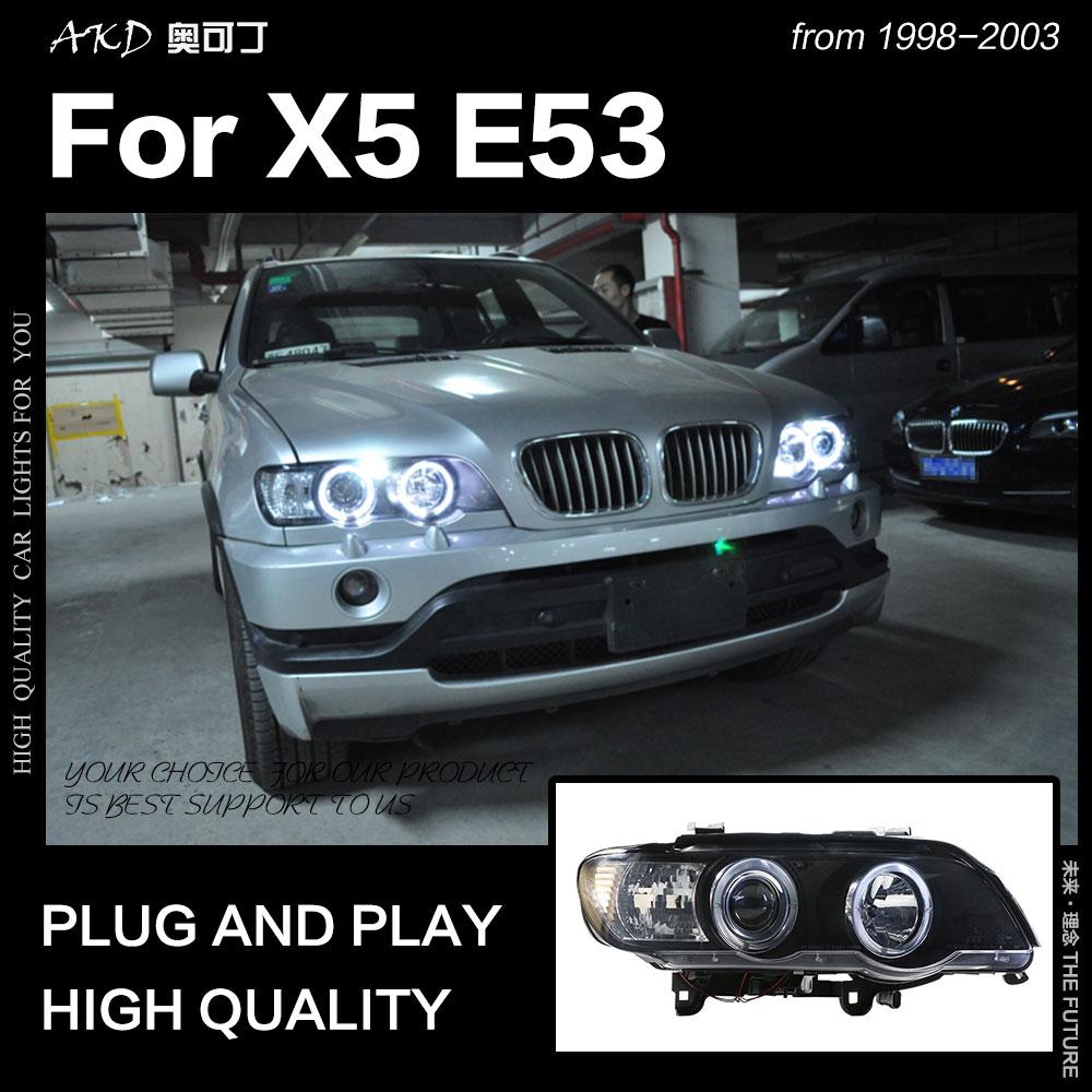 Lámpara de cabeza para coche AKD para BMW X5 E53 faros 1998-2003X5 LED faro DRL Angel Eye Hid Bi Xenon Auto Accesorios
