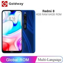 Смартфон Xiaomi Redmi 8 с глобальной прошивкой, 4 ГБ, 64 ГБ, Восьмиядерный процессор Snapdragon 439, двойная камера 12 МП, аккумулятор 6,22 дюйма, 5000 мАч