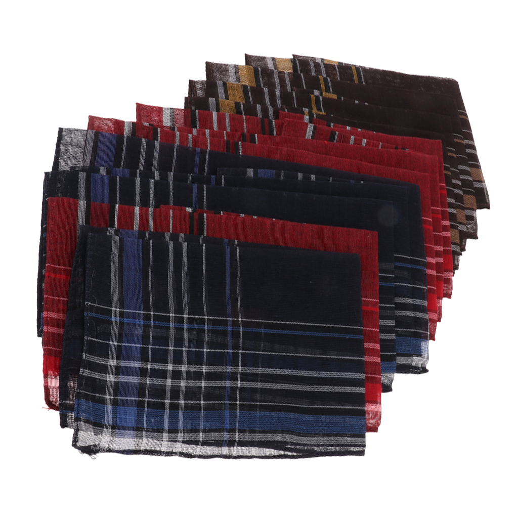 Pack Of 12 Plaids Pattern Handkerchiefs Soft Square Pocket Towel For Men