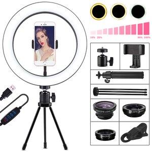 Image 2 - Orsda LED Ring Licht 10 Zoll Fotografie Dimmen ringlight Youtube 3500 5500k USB Stecker Selfie Ring Licht Mobile telefon Halterung