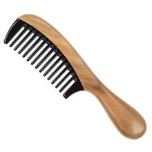 Sandalwood And Horn Comb Round Handle Comb Teethed Anti-Static Head Massage Comb Hairdressing Accessories For Home Barber