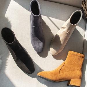 Image 1 - Botas Mujer Invierno 2019 מגפי נשים חורף פרווה Ankel מגפי נשים גבוהה עקבים נעלי מוצק כחול שחור גבירותיי נקבה נעליים