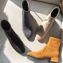 أحذية بوتاس Mujer Invierno 2019 أحذية نسائية شتوية من الفرو حذاء نسائي بكعب عالٍ الجوارب الصلبة أزرق أسود السيدات أحذية نسائية
