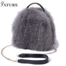 2019 New Winter Women Fox Fur Handbag Single-shouler Real Bags Fashion Girl Silver Warm Genuine Leather Bag Female