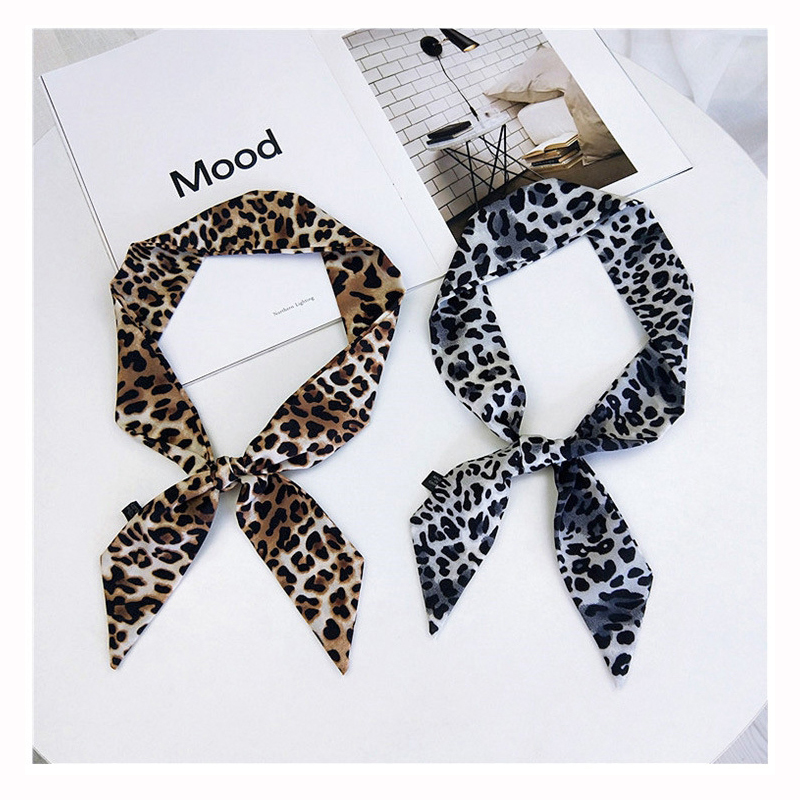 5*90cm New Leopard Print Bag Strap Scarf  Womens Silk Scarf Fashion Head Scarf Headwear Long Scarves Bag Accessories Ribbon