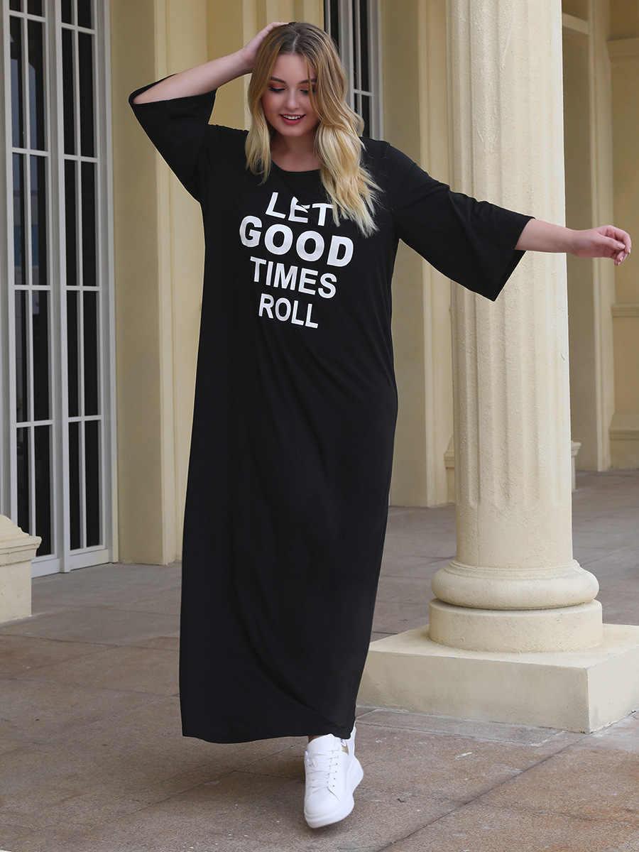 2020 bahar yaz artı boyutu uzun elbise kadınlar için büyük gevşek rahat yarım kollu düz O boyun elbiseler siyah 3XL 4XL 5XL 6XL