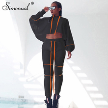 Simenual Casual Sporty Active Wear Women Matching Set 2019 Autumn Long Sleeve Fashion 2 Piece Outfits Workout Top And Pants Sets