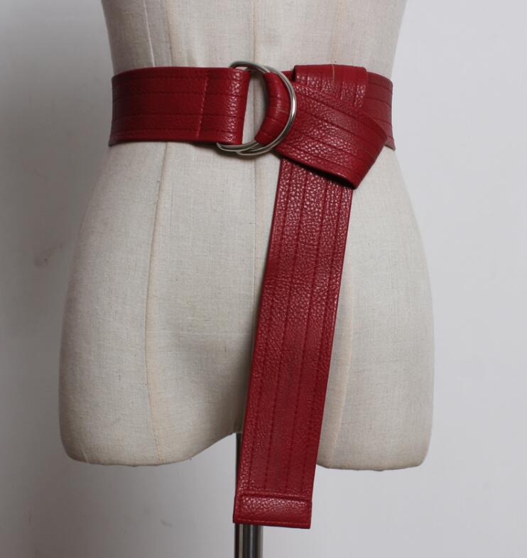 Women's Runway Fashion PU Leather Cummerbunds Female Dress Coat Corsets Waistband Belts Decoration Wide Belt R1813