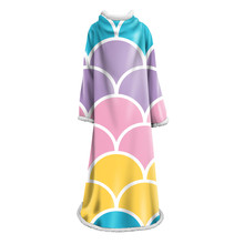 Mermaid Scales Sherpa Blanket With Sleeve for Girls Geometric Pattern Colorful Velet Blanket for Home Travel Nap Blanket colorful scales pattern blazer and pants twinset