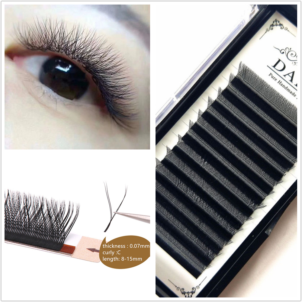 C/D Curl YY Shape Eyelash Extensions Natural Black Soft Y Style Lash Extension Professional Use For Eyelash Salon