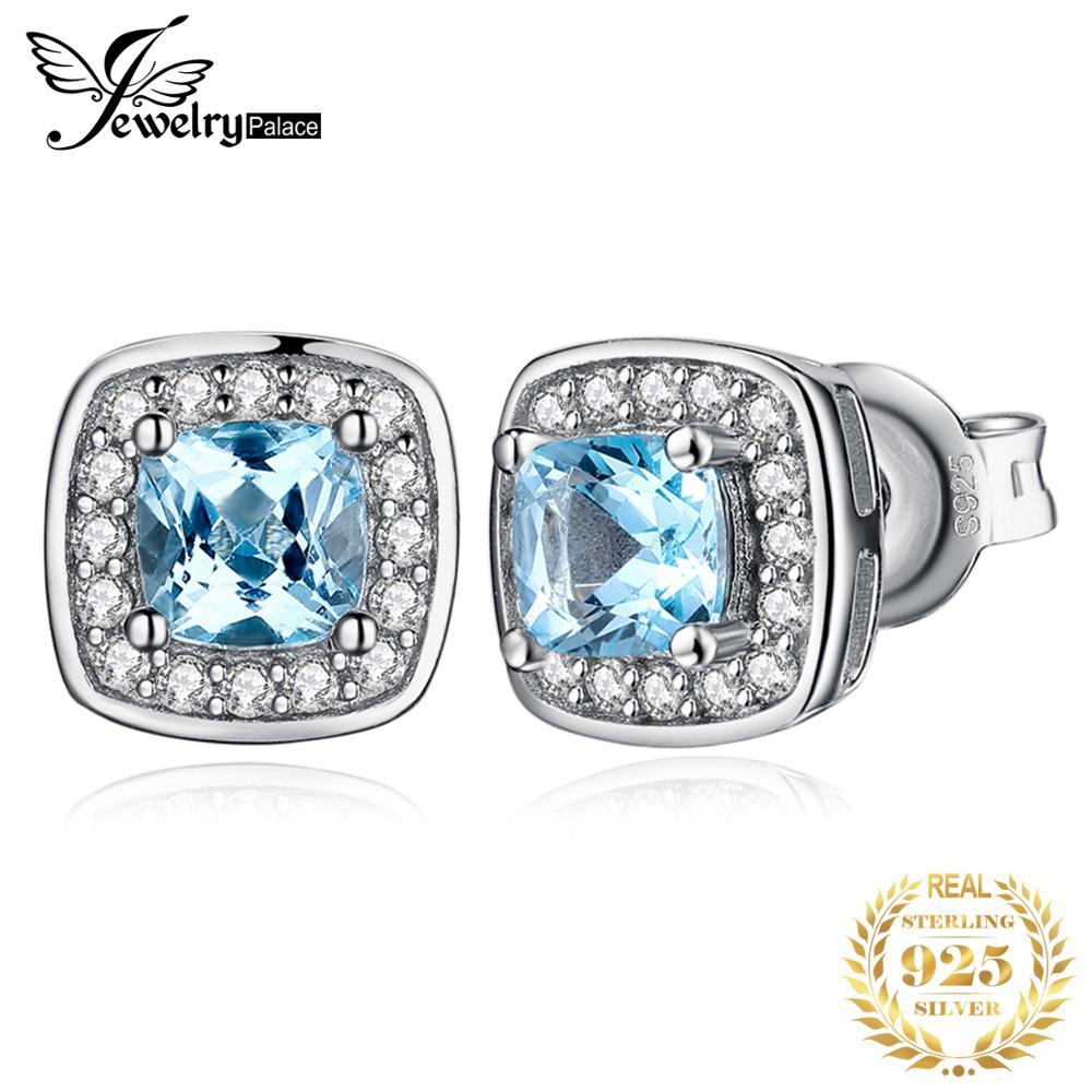 JewelryPalace Cushion Genuine Sky Blue Topaz Stud Earrings 925 Sterling Silver Earrings for Women Earings Fashion Jewelry