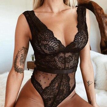 Женское сексуальное нижнее белье с бретельками, без рукавов, с глубоким v-образным вырезом, Сетчатое прозрачное, полностью кружевное, облега...