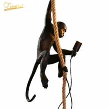 Nordic LED Monkey Pendant Lihgts Lighting Hemp Rope Loft Pendant Lamp Modern Art Resin Product Hanging Lamp Indoor E27 Fixture nordic led monkey lamp pendant lamp indoor lighting hemp rope loft pendant lights modern resin kitchen hanging lamp decor lights