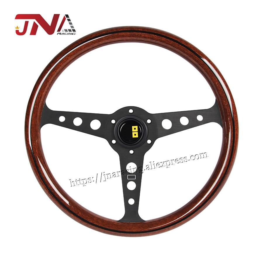 Рулевое колесо для дрифтинга с глубокой посадкой, 358 мм, универсальная копия, дерево, алюминий, автомобильные гонки, спортивное рулевое коле...