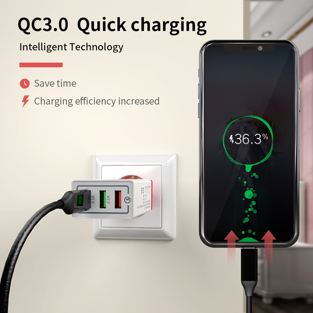 Chargeur USB QC 3.0 Portable 30W chargeur Charge rapide 3.0 téléphone USB mur chargeur de Charge rapide prise ue pour xiaomi Iphone