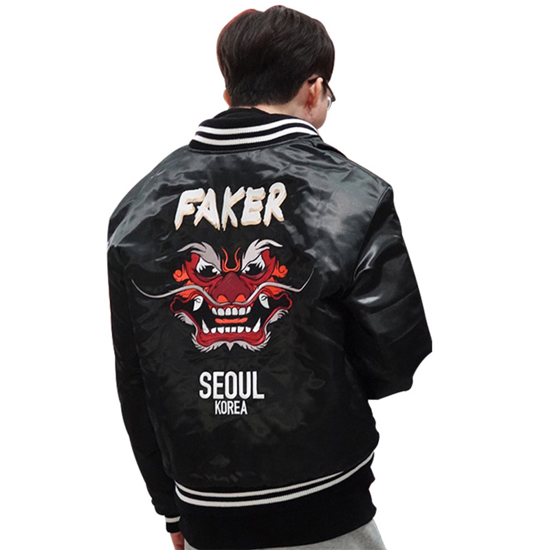 2019 Faker Jacket Lol World Championship Embroidery Type Demon King Champion'S Coat S9 Faker Skt T1 Skt Jersey Sk Telecom T1