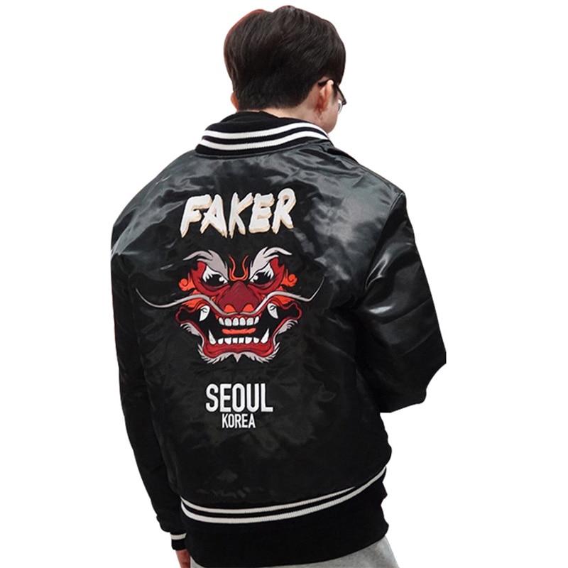 2019 Faker Jacket Lol World Championship Embroidery Type Demon King Champion'S Coat S9 Faker Skt T1 Skt Jersey Sk Telecom T1