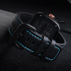 Image 2 - PEIYI 28mm Carbon fibre leather watchband  black with white blue orange red line strap substitute for Sevenfriday leather strap