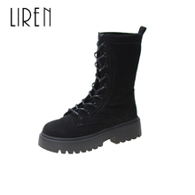 Liren 2019 Spring/Autumn Flock Ankle Lace-up Boots High Square Heels Women Fashion Comfortable Cool Lady Sexy