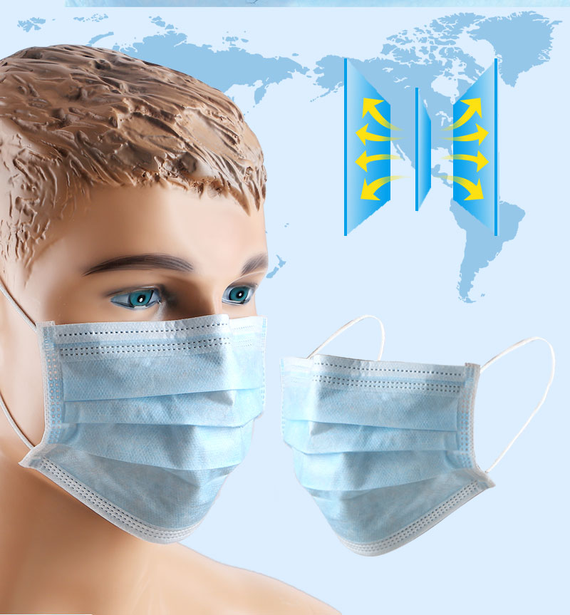 10/20/50Pcs Disposable 3-Layer Anti Dust Breathable Non-woven Fabrics Sanitary Protective Elastic Earloop Facial Mouth Cover