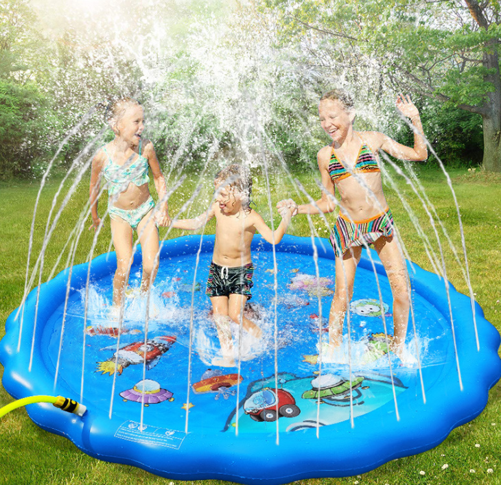 Childrens Water Splash Pad Mat Inflatable Spray Water Cushion Summer Kids Play Water Mat Lawn Games Pad Toys Out