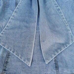 Image 4 - Twotwinstyleパッチワーク弓デニム女性のジャケットスタンド襟長袖ヴィンテージシャーリングジャケット女性のための2020ファッション服