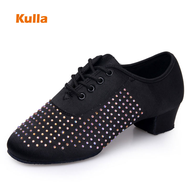 Latin Dance Shoes Children's Women Square Heels 4cm PU Kids Woman's Girls Ballroom Tango Practice Dancing Shoes Soft Sole Indoor