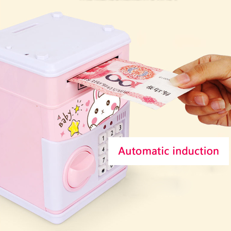 Electronic Piggy Bank ATM Password Money Box Cash Coin Savings Box Bank Safe Automatic Deposit Banknotes Christmas Gift