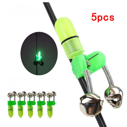 2019 Hot Sale 5PCS LED Night Fishing Rod Bite Bait Alarm Light Twin Bells Clip Alerter Sea Fishing Practical Tools
