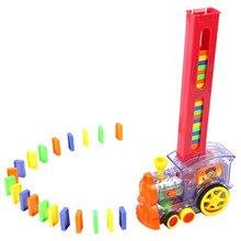 Кирпич домино набор поезд модель ралли Обучающие Подарочные блоки ABS красочные электронные игрушки укладка девочка мальчик звуковой светильник дети
