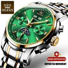 Marca OLEVS reloj hombre lujo , reloj automaticos verde de acero inoxidable resistente al agua para hombre, reloj de pulsera mecánico deportivo de negocios 6633