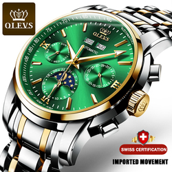 OLEVS Men Mechanical Watch Luxury Automatic Moonphase Stainless Steel Waterproof Business Sport Wristwatch Men relogio masculino