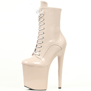 Image 3 - JIALUOWEI INS Style 20CM Extreme High Heels Platform Boots Lace Up Sexy Pole Dancing Ankle Boots Side Zip  5 12