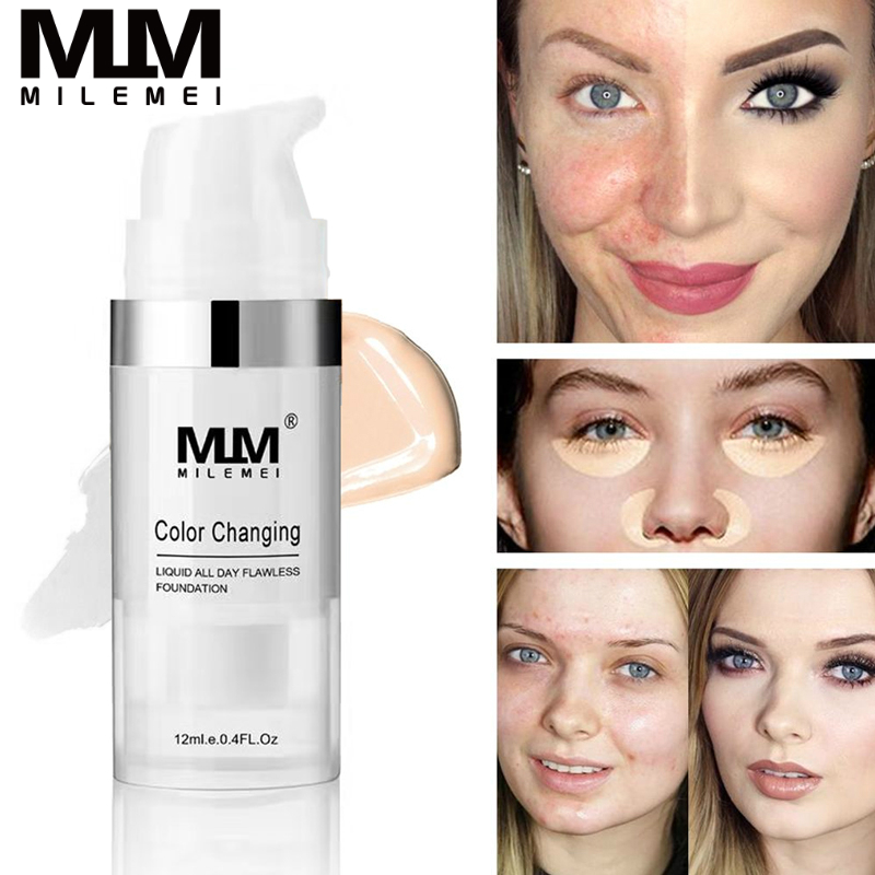 MILEMEI 12ml Color Changing Liquid Foundation Makeup Change To Your Skin Tone By Just Blending  Foundation Color Changing