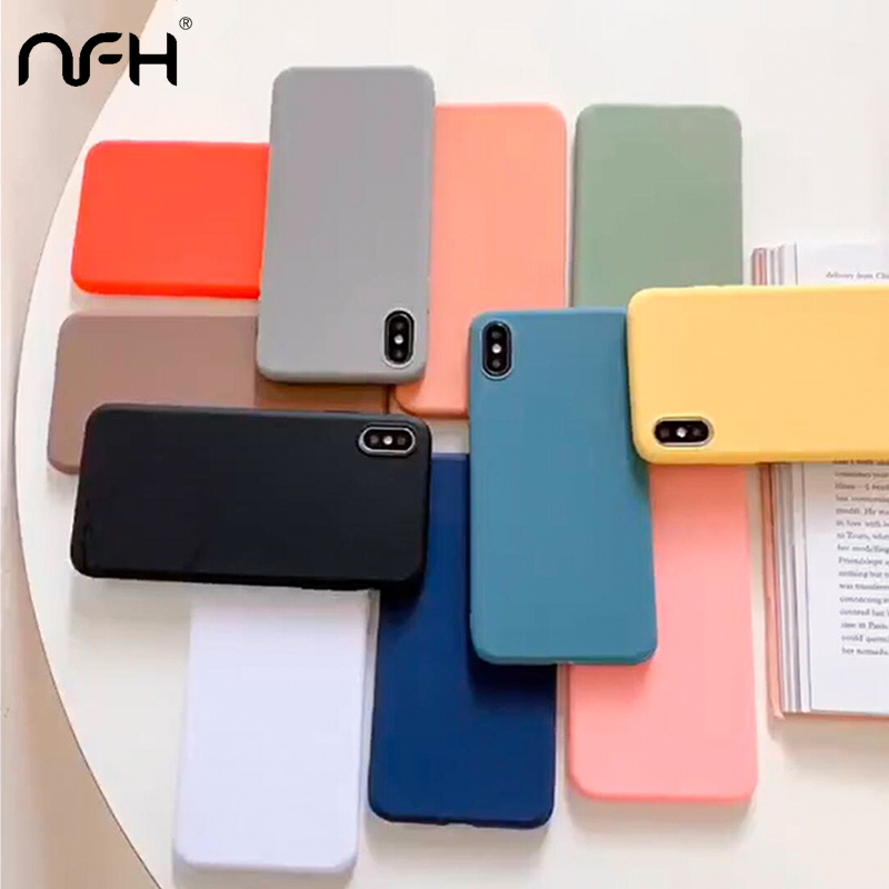 NFH Candy Silicone Soft Case For Huawei P30 Lite P20 Pro Matte Back Cover On Honor 10 Lite Honor 20 Pro Y6 Prime 2019 TPU Shell