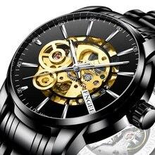 Black Watch Mechanical-Watches Dial Waterproof Luminous Men's Automatic Hollow for Man