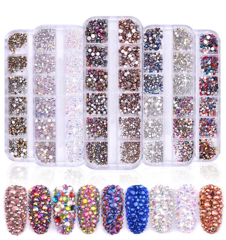 12 grades conjunto de joias da arte do prego ab agua strass diamante brilhante 3d glitter