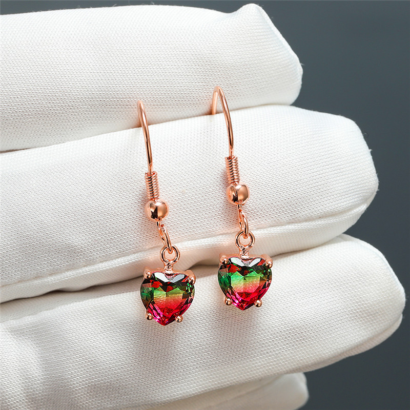 Charming Rainbow Gradient Heart Zircon Drop Earring Vintage Fashion Rose Gold Multicolor Crystal Dangle Earrings For Women Party